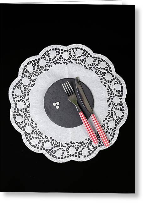 White Cloth Greeting Cards - Eating Pills Greeting Card by Joana Kruse