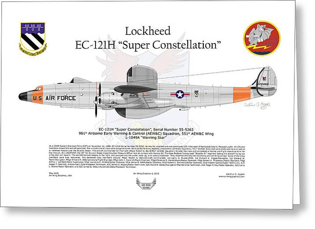 Steve Eggers Greeting Cards - EC-121H Super Constellation Greeting Card by Arthur Eggers