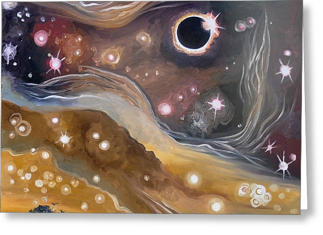 Solar Eclipse Paintings Greeting Cards - Eclipse Greeting Card by Cedar Lee