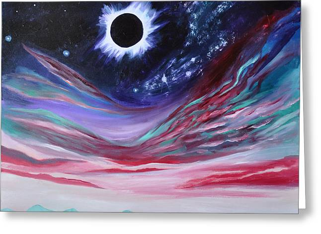 Solar Eclipse Paintings Greeting Cards - Eclipse III Greeting Card by Cedar Lee