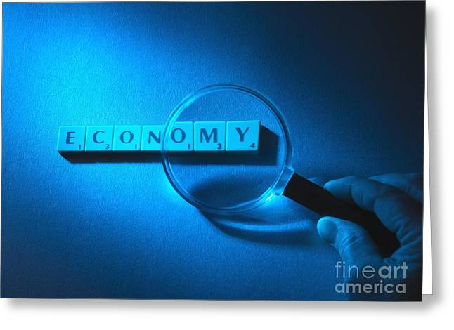 Scrutiny Greeting Cards - Economic Scrutiny, Conceptual Image Greeting Card by Tek Image