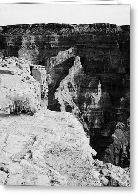 Guano Greeting Cards - edge and sharp drop into the grand canyon at guano point Grand Canyon west arizona usa Greeting Card by Joe Fox
