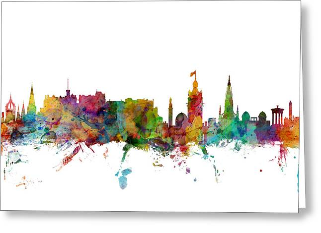 Great Britain Greeting Cards - Edinburgh Scotland Skyline Greeting Card by Michael Tompsett