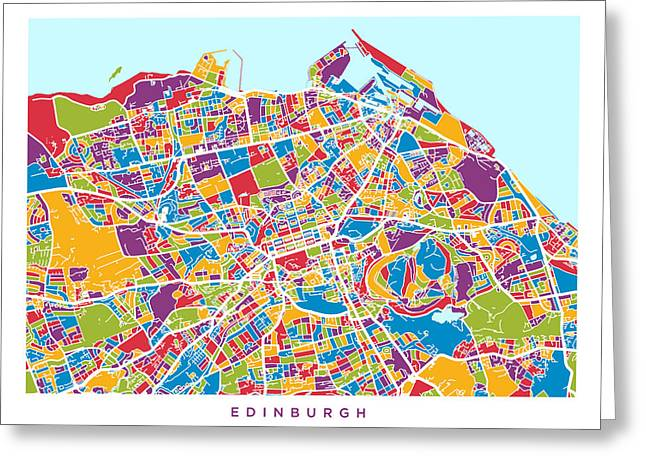 Streets Digital Greeting Cards - Edinburgh Street Map Greeting Card by Michael Tompsett