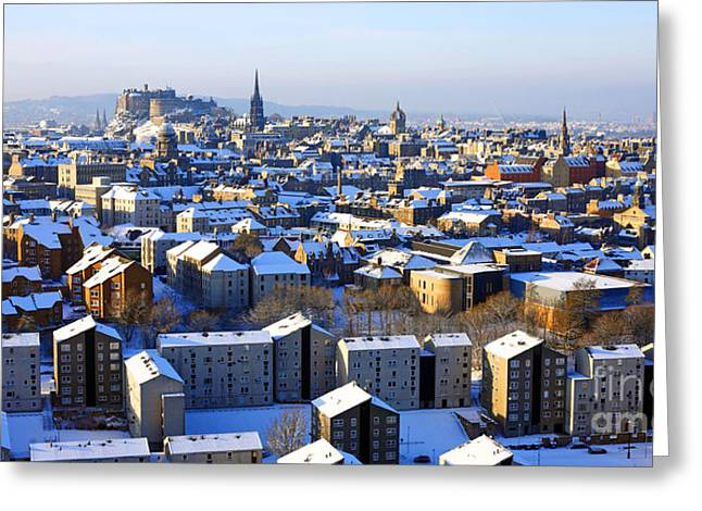 Framed Winter Snow Photograph Greeting Cards - Edinburgh Winter Cityscape Greeting Card by Craig B