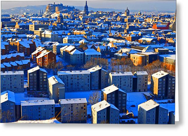 Framed Winter Snow Photograph Greeting Cards - Edinburgh Winter Greeting Card by Craig B