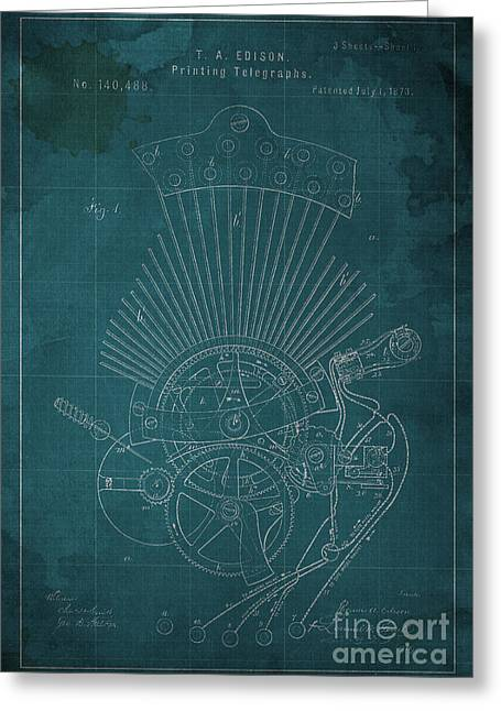 Edison Greeting Cards - Edison Printing Telegraphs Patent Blueprint 1 Greeting Card by Pablo Franchi