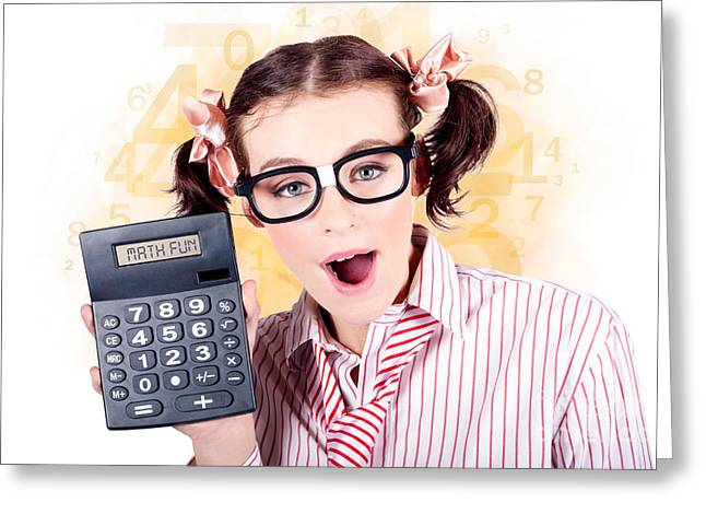 Enthusiastic Greeting Cards - Education Math Tutor Holding Numbers Calculator Greeting Card by Ryan Jorgensen