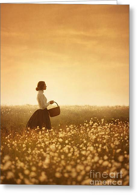 Best Sellers -  - Full Skirt Greeting Cards - Edwardian Woman In A Meadow At Sunset Greeting Card by Lee Avison