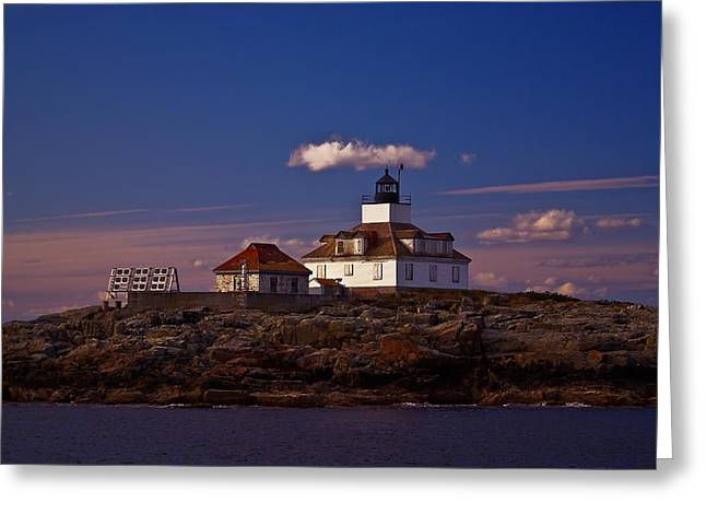 Maine Lighthouses Greeting Cards - Egg Rock Light.  Greeting Card by New England Photography