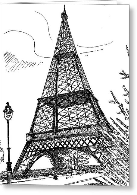 Film Noir Drawings Greeting Cards - Eiffel Greeting Card by Andooga Design