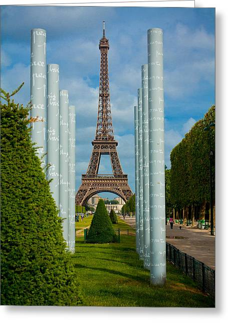 Paix Greeting Cards - Eiffel Tower Greeting Card by Anthony Doudt