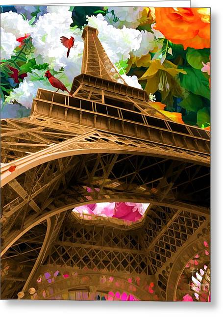 Liane Wright Greeting Cards - Eiffel Tower on a bed of decorative flowers Greeting Card by Liane Wright