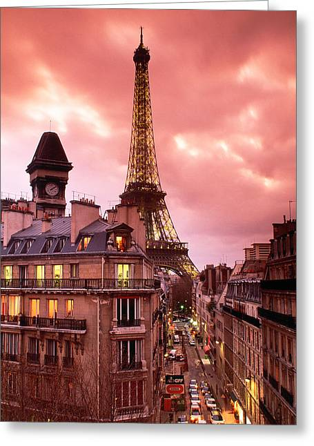 Pink Pastels Greeting Cards - Eiffel Tower Paris France Greeting Card by Panoramic Images