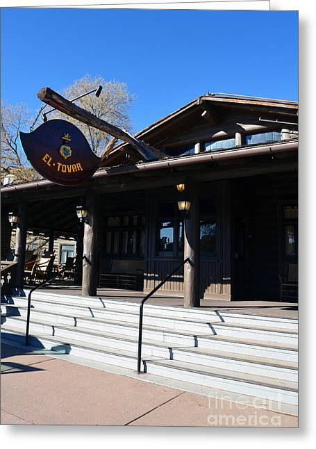 Rustic Photographs Greeting Cards - El Tovar Historic Hotel Entrance in Grand Canyon Village Greeting Card by Shawn O