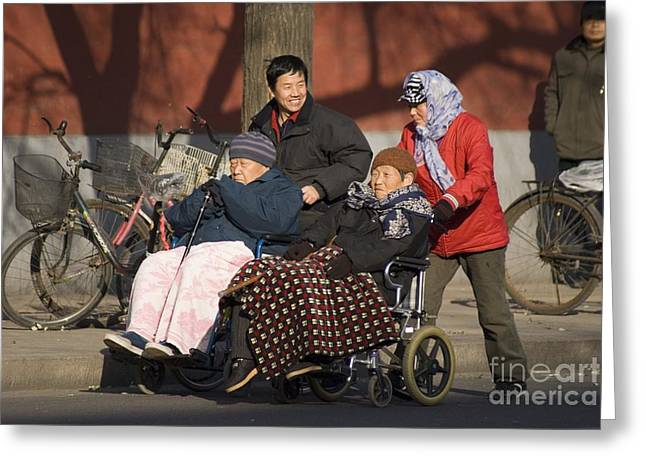 Old Beijing Greeting Cards - Elderly Chinese In Wheelchairs Greeting Card by Mark Williamson