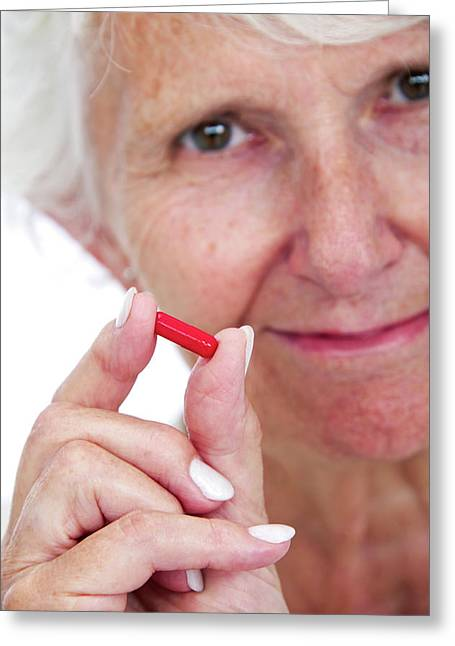 Elderly Woman With Medication Greeting Card by Lea Paterson