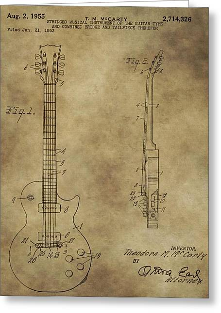 Rolling Stones Greeting Cards - Electric Guitar Patent Greeting Card by Dan Sproul