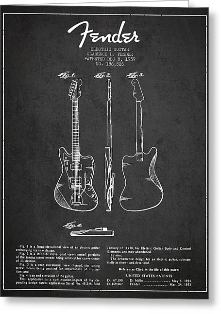 String Instrument Greeting Cards - Electric Guitar Patent Drawing from 1959 Greeting Card by Aged Pixel