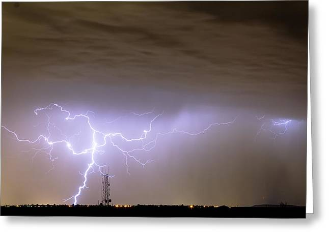 Lightning Gifts Photographs Greeting Cards - Electric Night Greeting Card by James BO  Insogna