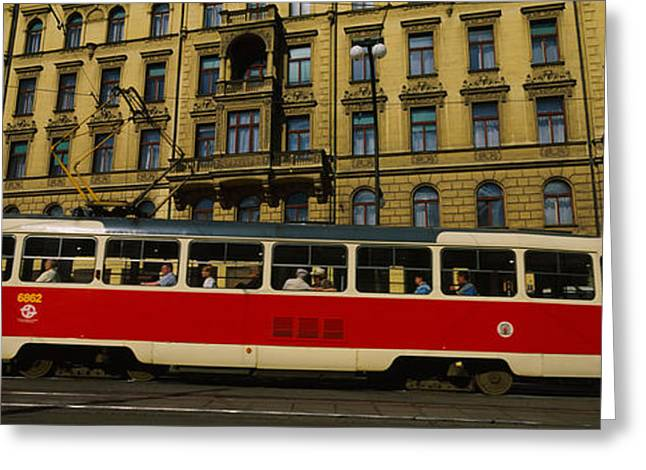 Train Photography Greeting Cards - Electric Train On A Street, Prague Greeting Card by Panoramic Images