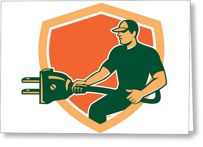Electrician Greeting Cards - Electrician Carrying Electric Plug Shield Retro Greeting Card by Aloysius Patrimonio