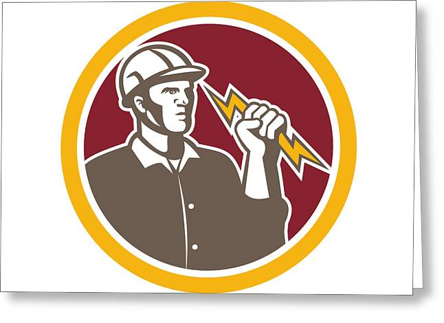 Electrician Greeting Cards - Electrician Wielding Lightning Bolt Circle Retro Greeting Card by Aloysius Patrimonio