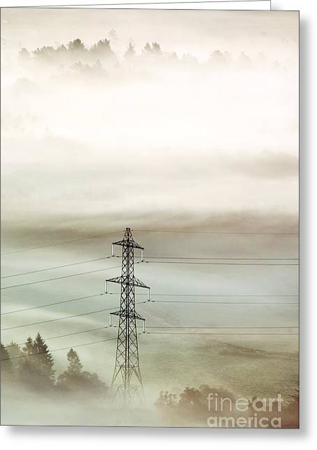 Temperature Inversion Greeting Cards - Electricity Pylon In Fog Greeting Card by Duncan Shaw