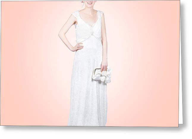 Clutch Bag Greeting Cards - Elegant bride in white wedding dress Greeting Card by Ryan Jorgensen