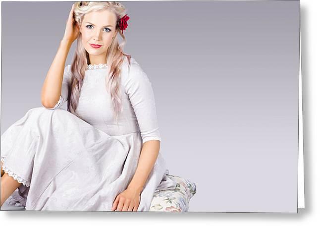 Coiffure Greeting Cards - Elegant fashion girl Greeting Card by Ryan Jorgensen