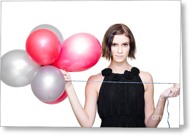 Elegant Woman Holding Balloons Greeting Card by Jorgo Photography - Wall Art Gallery