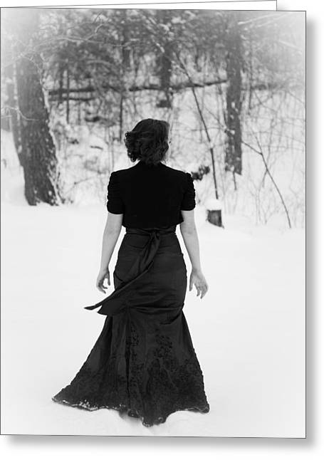 Oxymoron Greeting Cards - Elegant Woman Walking in Snow Greeting Card by Veda Gonzalez