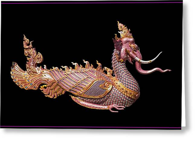 Oriental Sculptures Greeting Cards - Elephant Dragon Greeting Card by FL collection