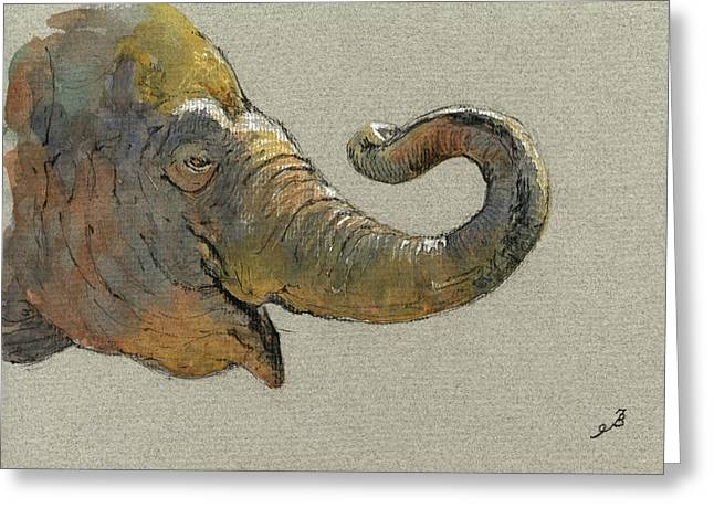 Drawing Greeting Cards - Elephant head Greeting Card by Juan  Bosco