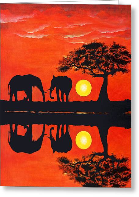 Water Reflecting At Sunset Greeting Cards - Elephant Reflections Greeting Card by John Hebb