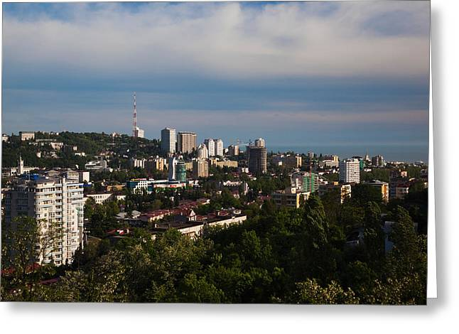 Elevated Views Greeting Cards - Elevated City View From Vinogradnaya Greeting Card by Panoramic Images