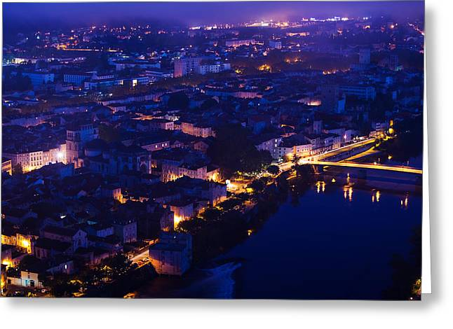 Midi Greeting Cards - Elevated View Of A Town Viewed Greeting Card by Panoramic Images
