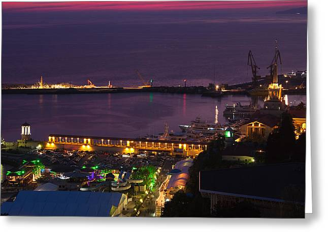 Elevated Views Greeting Cards - Elevated View Of Sea Terminal Greeting Card by Panoramic Images