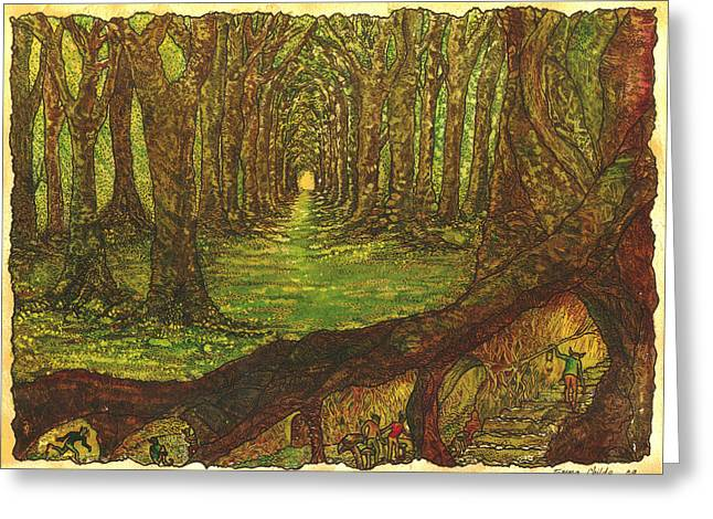 Tree Roots Paintings Greeting Cards - Elf Wood Greeting Card by Emma Childs