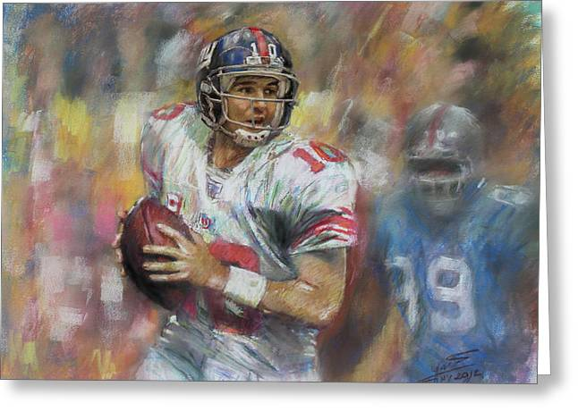 Eli Manning Nfl Ny Giants Greeting Card by Viola El