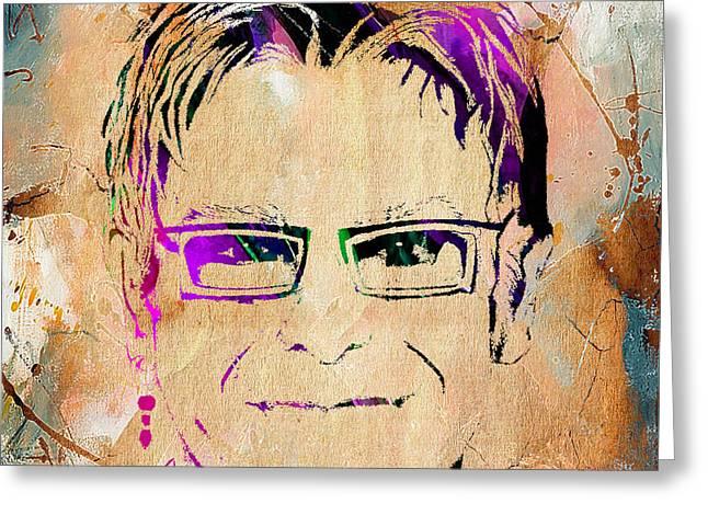 Elton John Greeting Cards - Elton John Collection Greeting Card by Marvin Blaine