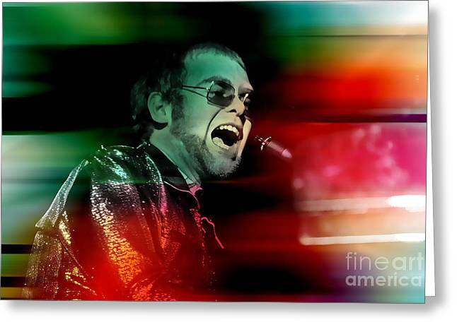 John Greeting Cards - Elton John Greeting Card by Marvin Blaine