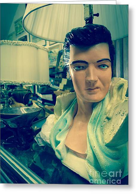 Market Greeting Cards - Elvis Lamp in Antique Shop Greeting Card by Amy Cicconi
