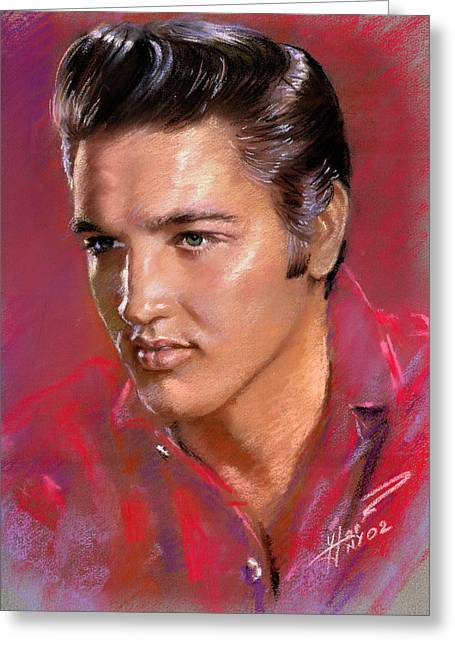 Presley Greeting Cards - Elvis Presley Greeting Card by Viola El