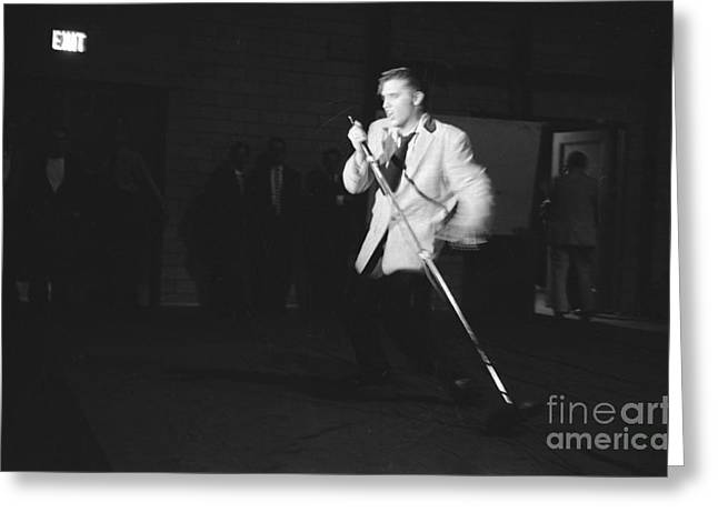 Many People Greeting Cards - Elvis Presley Performing in Dayton in 1956 Greeting Card by The Phillip Harrington Collection