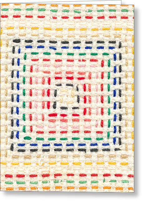 Child Tapestries - Textiles Greeting Cards - Embroidery made by a child Greeting Card by Kerstin Ivarsson