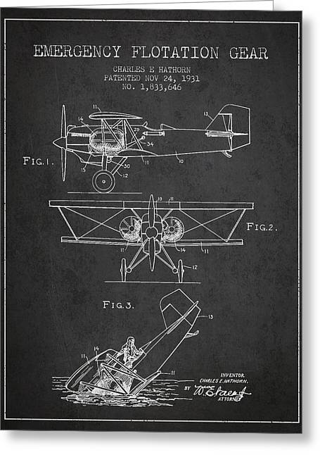 Floatplane Greeting Cards - Emergency flotation gear patent Drawing from 1931 Greeting Card by Aged Pixel