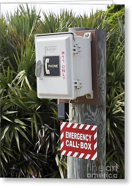 Call Box Greeting Cards - Emergency Telephone Greeting Card by Mark Williamson
