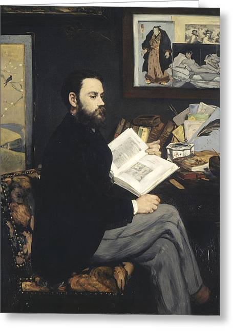 Zola Greeting Cards - Emile Zola Greeting Card by Edouard Manet