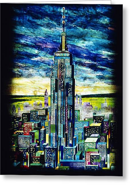 Painted Glass Greeting Cards - Empire State Building Greeting Card by Mountain Dreams
